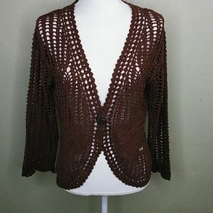 Brown Lacy Crochet Cardigan L NWT